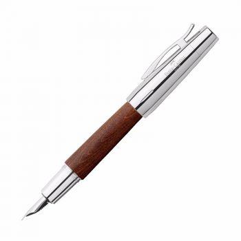 德国FABER-CASTELL辉柏嘉设计尚品系列镀铬梨木钢笔 棕色  F尖