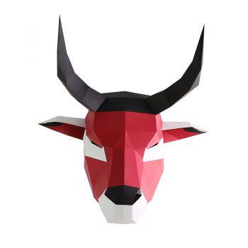 鹿羚纸艺 2021牛年手工纸模头套 红牛(diy素材包)